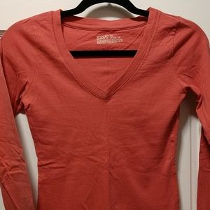 Coral V-neck long sleeve T